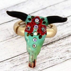 Jewelry - Crystal Rose Steer Head Boho Hippie Ring